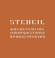 decorative square stencil-plate serif font vector image