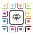 diamond flat icons set vector image