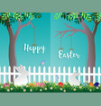 easter day in the garden on blue background vector image vector image