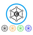 euro bitcoin network rounded icon vector image vector image