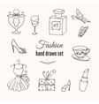 fashion hand drawn elements set hand vector image vector image