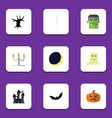 flat icon halloween set of crescent pumpkin vector image vector image