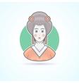 Geisha japanese traditional woman dress icon vector image