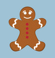 gingerbread man xmas icon christmas day vector image vector image