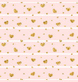 gold heart seamless pattern pink-white geometric vector image