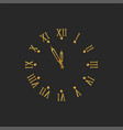 golden clock dial with roman numerals and arrows vector image