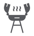 grill glyph icon fire and cooking barbecue sign vector image