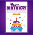 happy birthday greeting screen for your mobile vector image vector image