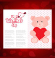 happy valentines day card with teddy bear vector image vector image