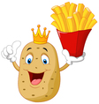 King chef potato holding a french fries vector image vector image