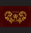 logo letter a with gold ornaments vector image vector image