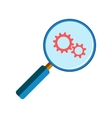 Magnifying glass with gearwheels vector image