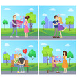man presenting luxury bouquet of flowers to woman vector image vector image