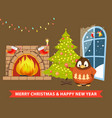 merry christmas and happy new year poster penguin vector image vector image