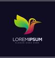 modern colorful flying humming bird logo icon vector image