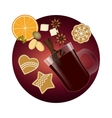 mulled wine christmas spices and cookies vector image vector image