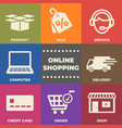 online shopping concept with icons and signs vector image