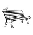 park bench engraving vector image vector image