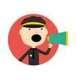policeman in uniform with megaphone icon vector image vector image