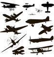 retro plane silhouette for logo black on white vector image vector image