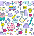 seamless pattern household items toys cactus vector image