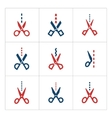 Set color icons of scissors with cut line vector image vector image