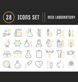 set flat line icons medical laboratory vector image
