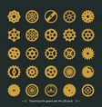 set of gears on dark green background vector image