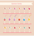 set of summer drinks and beverage cocktailjuice vector image