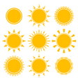 set shiny bright yellow sun vector image vector image