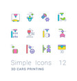 set simple line icons 3d cars printing vector image vector image