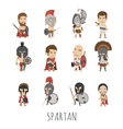set spartan soldier costume characters vector image