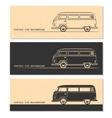 set vintage car silhouettes bus van wagon vector image