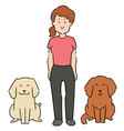 set woman and dogs vector image vector image