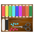sewing kit threads needles buttons scissors vector image