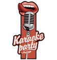 sticker for karaoke party with mic and mouth vector image