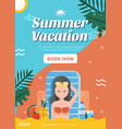 summer vacation poster layout vector image vector image