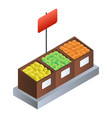supermarket fruit box icon isometric style vector image