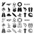 surfing and extreme black icons in set collection vector image