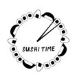 sushi time clock with maki rolls and onigiri vector image