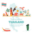 thailand bright poster with landmarks and symbols vector image vector image
