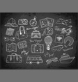 travel doodles on blackboard background vector image vector image