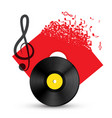 treble clef with vinyl record disc audio music vector image
