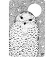 white polar owl - ink graphic drawing with vector image