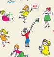 Seamless pattern for kindergarten with active kids vector image