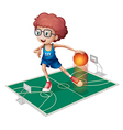 A giant player in a small court vector image vector image