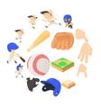 baseball items icons set cartoon style vector image vector image