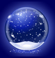 blue magic snow ball on blue background vector image vector image