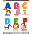 cartoon alphabet collection with dog breeds vector image vector image