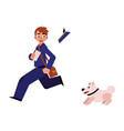 cartoon postman character running away vector image vector image